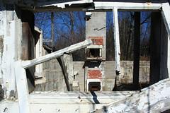 Décrissé (ETt_) Tags: ruins abandonned destroyed house bricks fireplace stones forest window trees dirt paint building nails rut rusted decay