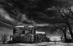 the cri-de-coeur... (BillsExplorations) Tags: cridecoeur abandoned abandonedillinois abandonedhouse jupiterascending decay ruraldecay rural ruraldeterioration old forgotten distress disaster blackandwhite monochrome monochromemonday sky clouds trees snow landscape