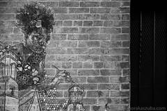 Artist (Nora Kaszuba) Tags: newhavenconnecticut cafenine crownstreet norakaszuba fuji16mmf14 fujixt2 stencil brick image art artist blackwhite monochrome