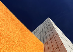 Ever Higher (studioferullo) Tags: abstract architecture art beauty bright building colorful colourful colors colours contrast dark design detail downtown edge light minimalism outdoor outside perspective pattern pretty scene sky study sunlight sunshine street texture tone weathered world arizona mesa blue gray grey ocher ochre angle diagonal lines geometric geometry