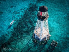 Alligator Reef Lighthouse, Florida Keys. (JesseMichaelMarshall) Tags: warm tropical boat reef islandlife aerialphotography drone floridakeys lighthouse phantom4pro islamorada florida