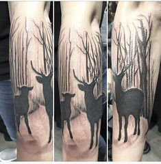 Outdoor deer tattoo by Wes Fortier @ Burning Hearts Tattoo Co. Waterbury, CT. Instagram: @wesdtc Facebook: facebook.com/burningheartstattoo