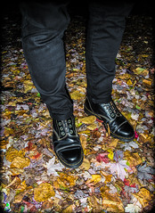 Dr Marten Capper. Black. (CWhatPhotos) Tags: cwhatphotos camera photographs photograph pics pictures pic picture image images foto fotos photography artistic that have which contain olympus omd em5 mk ii mkii eight hole dm dms doc dr marten martens boot boots airwair laces colored color cool bouncing soles original capper capperboot black leather bouncingsoles docmartens autumn leaf leaves jeans man male