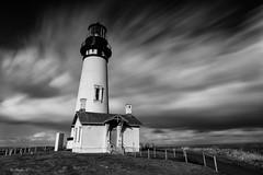 At Yaquina Head Lighthouse, Oregon. (Masako Metz) Tags: yaquinaheadlighthouse newport oregon coast pacific northwest usa america sky clouds windy blackandwhite monochrome landscape longexposure