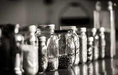 cleaning out the pantry (auntneecey) Tags: pantry food ingredients dof shallowdof bokeh kitchen blackandwhite monochrome 365the2017edition 3652017 day316365 12nov17 odc sleek