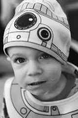Little Droid (waarondaniel) Tags: child toddler starwars bb8 halloween fall dressup costume dof shallowdepthoffield silverefex mood blackandwhite bw monochrome childhood boyhood