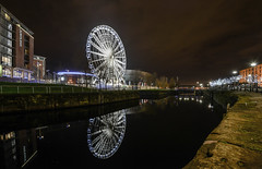 the liverpool eye (paul hitchmough photography 2) Tags: nikond800 nikon1635mm nightphotography longexpoureatnight longexposure liverpool reflections albertdock water