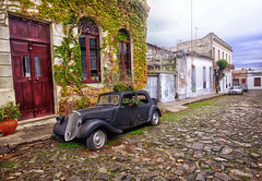 Classic Car in Colonia, Uruguay (` Toshio ') Tags: toshio coloniadelsacramento colonia car classic uruguay southamerica southamerican street cobblestone history spanisharchitecture colony fujixe2 xe2 vines building vehicle transportation door