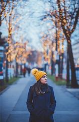 Hello from Vienna! (www.juliadavilalampe.com) Tags: selfportrait me vienna austria woman yellow blue lights bokeh europe travel christmas