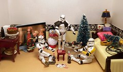 A Trick or Two Up His Sleeve on the Death Star (ChicaD58) Tags: dscf2370a starwarsactionfigure actionfigure stormtrooper clonetrooper stormtrooperbruce stb tk1110 tk432 tv holidaydecorations snowman christmastree lights ornaments bed pillow endtable lamp tissue mug tuboficycolas cards cake chocolatecakewithstrawberries burgers coffeemaker commemorativedarthbottleofscotch atrickortwo