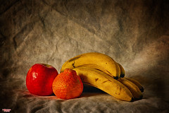 Going Bananas (MBates Foto) Tags: ambientlight apple availablelight bananas color existinglight fruit nikkorlense nikon nikond810 orange red stilllife yellow spokane washington unitedstates 99203