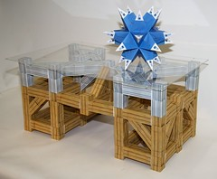 Modular origami table with stellated icosahedron (ISO_rigami) Tags: modular origami a4 truss table zebra 3d paper construction