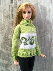 Hand-knitted green (apple green) sweater with ornament for Barbie girls (uliakiev) Tags: barbie barbiedoll barbiedollclothes barbieclothes barbiesweater barbiecollector barbiecollection barbiefan barbiefashion barbieclothing barbiedolls barbieshop barbiestyle barbiestream barbiecrochet barbieknit dollclothes dollsweater dollknitting