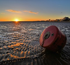 This morning's sunrise at Cleethorpes (Supurb mediocrity) Tags: bathplug dawn buoy plug coldmorning nikon750 sunnyday bluesky cleethorpesbeach beach sunrise cleethorpesseafront cleethorpes