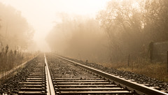 Last train for nowhere (Nadia (no awards please !)) Tags: rail brume mist fog brouillard matin morning
