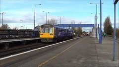 142041 departs as 221123 races through Swinton, 14th Nov 2017. (Dave Wragg) Tags: 142041 class142 pacer northern dmu railcar 221123 class221 voyager xc crosscountry swinton 2n22 1v54 railway