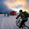 Biking on frozen Yellowknife bay (Great Slave Lake, Northwest Territories). Now that the ice is thick enough - a new season of outdoor activities begins !. (SteveSchwarzPhotography) Tags: ifttt instagram yellowknife snow biking ice northwestterritories greatslavelake fatbikiing fatbike houseboat