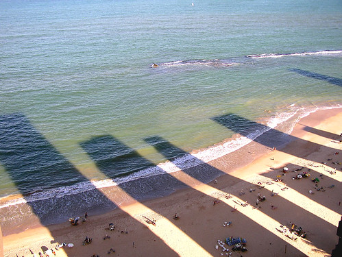 Afternoon shadows on beach, Recife, Brazil