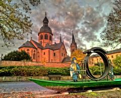 Seligenstadt - Einhard-Basilika und Klostergarten (holgerHG) Tags: seligenstadt deutschland hessen basilika einhardbasilika himmel basilica einhardbasilica baroque sky clouds hdr
