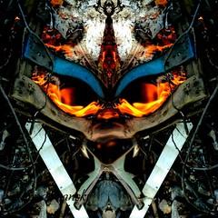 In the Fire (rhonda_lansky) Tags: fire face mirrored mirror flip flipped flames facial dreams dark rhondlansky lansky