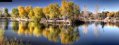 Island reflections Tingley Beach (JoelDeluxe) Tags: tingley beach abq bosque albuquerque dukecity nm newmexico biopark ponds fall colors red orange yellow green blue ducks wildlife fishing recreation landscape panorama hdr joeldeluxe
