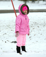 Brrrr Feb in Pittsburgh. She is a trooper. Everyone else kept running inside. (savonnaslessley) Tags: canon5dmarkiii canon70200mm28lisusmii snow pink neice winter pensylvania hanovercounty raccooncreekstatepark hiding snowsuit snowing boots gloves hat cold
