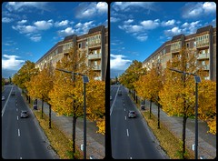 Albertstraße, Dresden 3-D / Stereoscopy / CrossEye / HDR / Raw (Stereotron) Tags: saxony sachsen dresden elbflorenz road traffic bridge streetphotography indiansummer autumn fall urban citylife europe germany crosseye crosseyed crossview xview cross eye pair freeview sidebyside sbs kreuzblick 3d 3dphoto 3dstereo 3rddimension spatial stereo stereo3d stereophoto stereophotography stereoscopic stereoscopy stereotron threedimensional stereoview stereophotomaker stereophotograph 3dpicture 3dglasses 3dimage twin canon eos 550d yongnuo radio transmitter remote control synchron kitlens 1855mm tonemapping hdr hdri raw