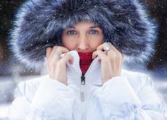 Cold (Jenny Onsager) Tags: winter winterportrait cold snow hood furhood grayfur whitecoat redscarf blueeyes femaleportrait northface
