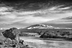 Stand helplessly before the spirit at bay (OR_U) Tags: 2017 oru iceland landscape mountain volcano hekla river rock sky monochrome blackwhite blackandwhite snow ice clouds bjork