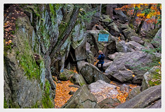 Purgatory Chasm (Timothy Valentine) Tags: 1117 2017 clichésaturday large statereservation woman photowalk sign sutton massachusetts unitedstates us