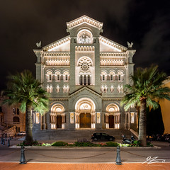 No Invitation (Tim van Zundert) Tags: monaco montecarlo saintnicholascathedral cathédralenotredameimmaculée cathedralofourladyoftheimmaculateconception church monacoville monacocity therock palmtrees building architecture night evening longexposure sony a7r voigtlander 21mm ultron square 1x1 frenchriviera cotedazur