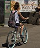 Flat Top Noodles (swong95765) Tags: advertisement woman bicycle female lady ride riding backpack bike cyclist touring