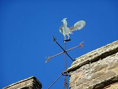Weathervane at St John the Baptist's Church, Stokesay (Dunnock_D) Tags: uk unitedkingdom britain england shropshire stokesay castle blue sky cockerel vane weathervane