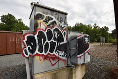 DNIE (TheGraffitiHunters) Tags: graffiti graff spray paint street art colorful train tracks new jersey nj dnie transit electric power box
