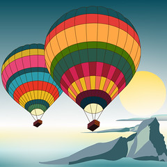 illustration of hot air balloons (illustrationvintage) Tags: balloon hot colorful flight fly fun basket transport ballooning flying sky color inflate up aviation colourful background recreation freedom aerial hotairballoon float high airship journey leisure blue adventure transportation travel air seascape