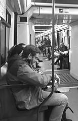 underground (=Mirjam=) Tags: iphone barcelona catalunya metro bw spain reading book traveling november 2017