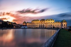 Belvedere palace at sunset in Vienna, Austria (altextravel) Tags: belvedere vienna austria palace landmark europe building capital travel baroque architecture old garden tourism city residence wien historic castle town facade sightseeing summer classic austrian famous monument upper scenic water art fountain royal museum history schloss monarchy heritage habsburg historical unesco traditional touristic touristattraction schlossbelvedere majestic reflection sunset night sky