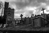 Headstones On The Hill (Rookie Phil) Tags: outdoor daytime autumn devon dartmouth dartmouthcastle stpetroxchurch stpetroxchurchgraveyard graveyard cemetery gravestones tombstones tombs graves headstones architecture building castle ancientbuilding tree clouds darkclouds gloomy overcast silhouetted bank grassybank crosses spooky creepy atmosphere grain bw blackandwhite monochrome 2401200mmf40 d750 nikond750 historicalbuilding antiquity moody turret ancientedifice gradeilisted southhams