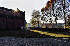 Sparkling Abbey (CesareZucco) Tags: abbey church chiesa sqaure piazza sky cielo trees monument building medieval light sun sunshine sunlight alberi nature town people natura grassland beauty morimondo italy italia nikon