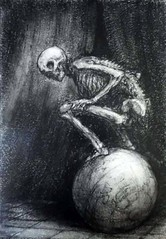 Paul Rumsey (wolfgraebel) Tags: skelett skeleton earth globe globus sphere cowering allegory goth gothic death tod memento mori vanitas drawing etching zeichnung illustration