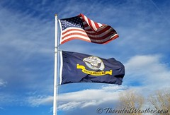November 8, 2017 - Old Glory and the U.S. Navy flag flying. (ThorntonWeather.com)