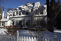White House (rcss2800) Tags: colour color house white red fence branch branches blue snow tree sky chirstmas