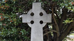 Glenwood 258 (Nathan_Arrington) Tags: districtofcolumbia washingtondc dc fruit leaves green plant tree symmetrical outdoor historic art sculpture symbol geometric religion cross cemetery graveyard grave glenwoodcemetery edgewood lincolnroad decay weathered details death design stone tombstone memorial monument landmark old crypt tomb angle texture history