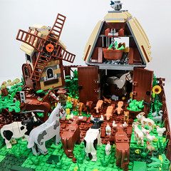 lego animal farm (lauradavison) Tags: lego animal farm book orwell kingdoms medieval mill village raid 7189 scale model windmill barn animals