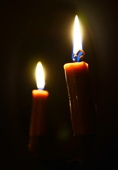 Candles Burning Old Bedford Village Cabin