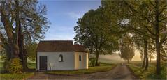 Feldkapelle (Robbi Metz) Tags: deutschland germany bayern bavaria reischenau augsburgwestlichewälder steinekirch sunrise landscape chapel trees colors canoneos