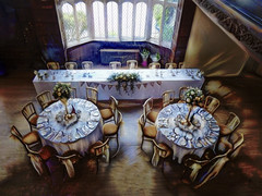 The Top Table (Steve Taylor (Photography)) Tags: art architecture digital tableandchairs table window blue black brown uk gb england greatbritain unitedkingdom bouquet flower texture glasses kent hallplace knivesandforks party reception ribbon setting silk tablecloth wedding