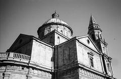 The church of San Biagio, Montepulciano. Leica M6, 35mm Summciron ASPH, Fomopan 100 (nickdemarco) Tags: rangefinderchronicles blackwhite film leicam6classic 35mmsummicronasph italy fomopan tuscany