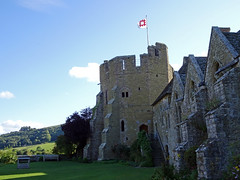 Stokesay Castle (Dunnock_D) Tags: uk unitedkingdom britain england shropshire stokesay castle blue sky white clouds lawn green grass