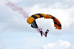 Veterans' Day 2017:  POW/MIA Tribute (Ginger H Robinson) Tags: veteransday powmia tribute usa army blackknights skydivers wingsoversolano travis airforcebase california parachute smoke sky jumpsuit